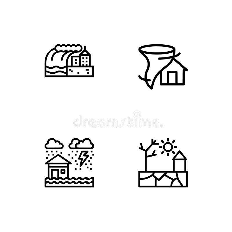 Os cataclismos e os ícones do esboço das catástrofes naturais ajustaram o formato do vetor do EPS 10 Fundo transparente ilustração royalty free