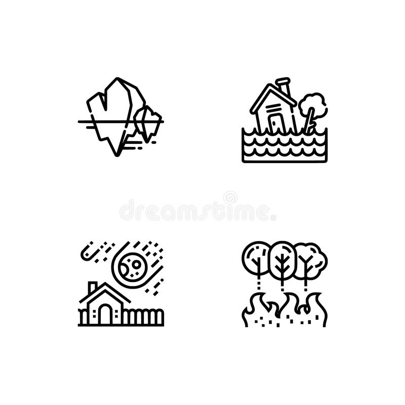 Os cataclismos e os ícones do esboço das catástrofes naturais ajustaram o formato do vetor do EPS 10 Fundo transparente ilustração stock