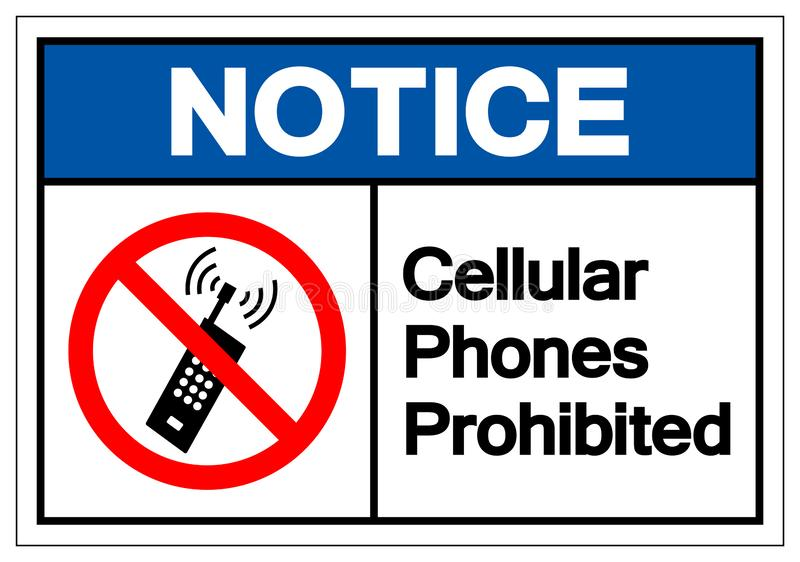 Os celulares da observação proibiram o sinal do símbolo, ilustração do vetor, isolado na etiqueta branca do fundo EPS10 ilustração royalty free