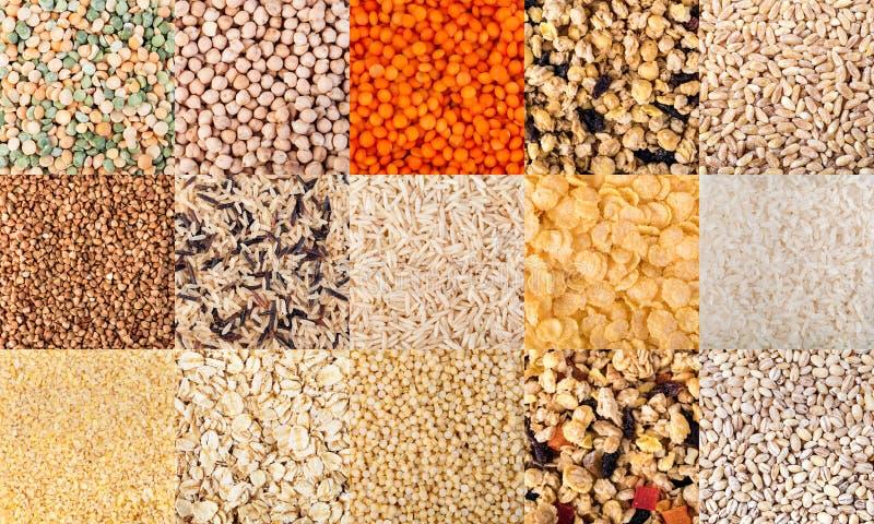 Os cereais ajustaram o fundo fotos de stock