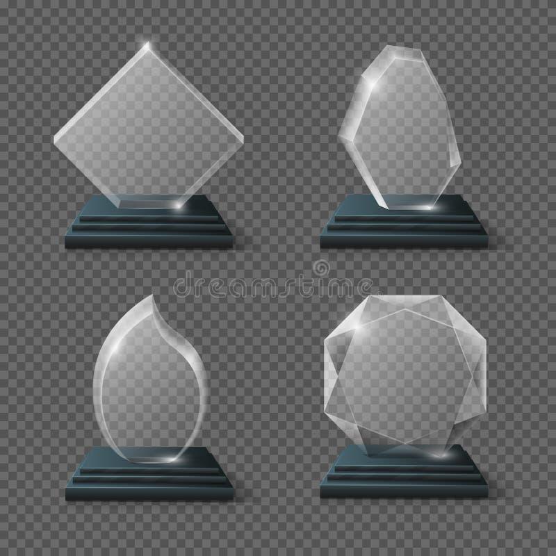 Os certificados de vidro claros da concessão, objetivos team o vetor conservado em estoque dos troféus de cristal ilustração royalty free