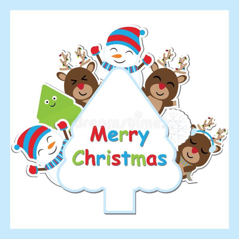 Os cervos bonitos, o boneco de neve e a árvore do Xmas vector desenhos animados no quadro da árvore para o cartão, o papel de par ilustração do vetor