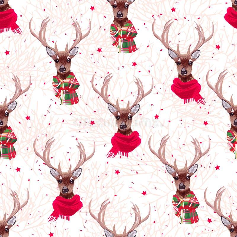 Os cervos bonitos que vestem o vetor sem emenda dos scarves à moda do inverno imprimem ilustração do vetor