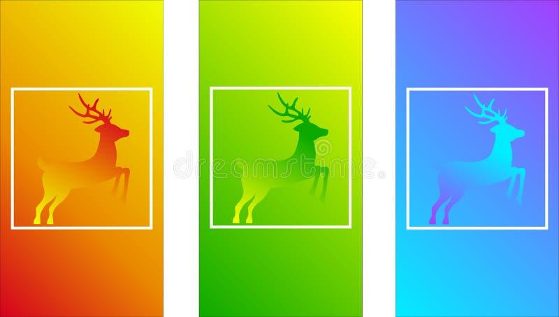 Os cervos coloriram, inclinações macios da cor, vetor animal selvagem, projeto moderno para a tela do telefone, cor ondulada, tex ilustração royalty free