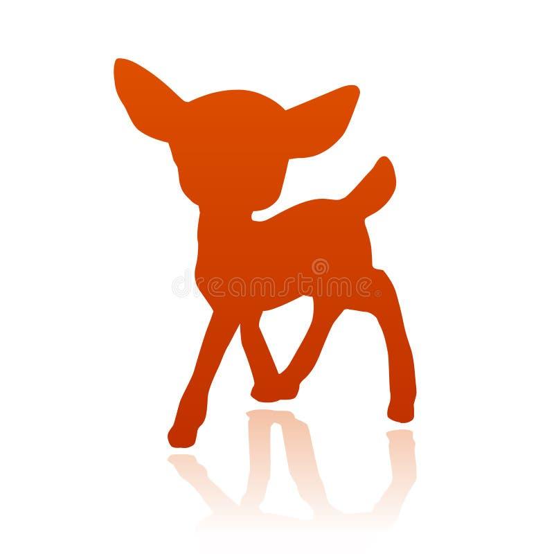 Os cervos pequenos fawn a silhueta