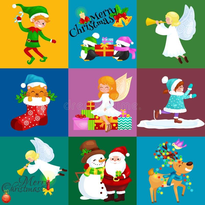 Os chapéus do boneco de neve de Santa Claus, crianças apreciam os feriados de inverno, duende com doces e as asas do anjo conduze ilustração do vetor
