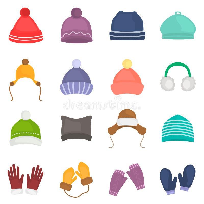Os chapéus do inverno e os ícones da cor das luvas ajustaram-se para a Web e o projeto móvel ilustração do vetor
