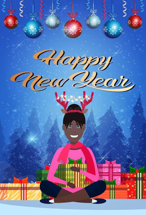 Os chifres afro-americanos dos cervos da mulher que sentam lótus levantam o conceito do Feliz Natal do ano novo da decoração das  ilustração do vetor