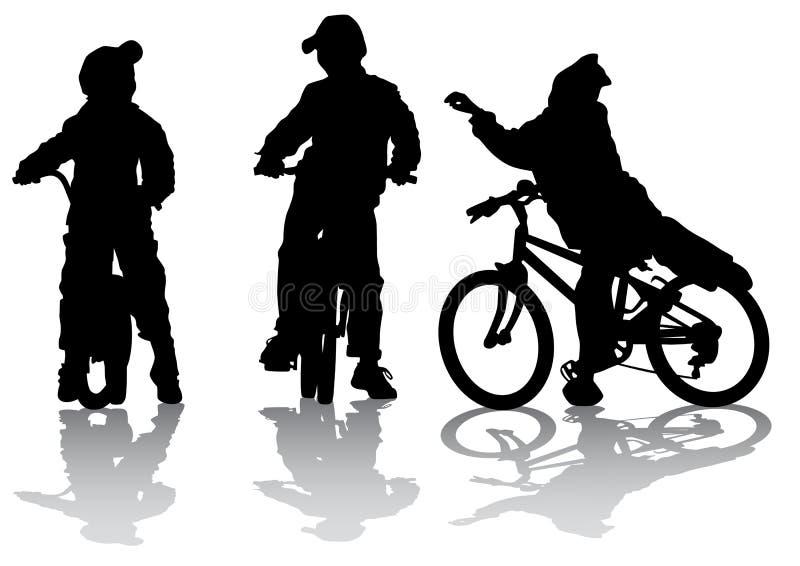 Os ciclistas agrupam adolescente ilustração do vetor
