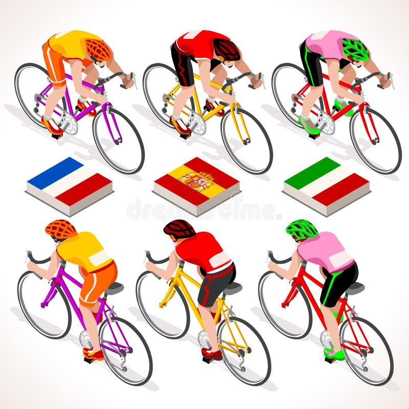 Os ciclistas 2016 do vetor visitam povos isométricos ilustração stock
