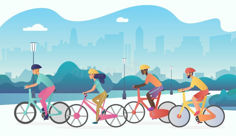 Os ciclistas ostentam o parque de montada da cidade das bicicletas dos povos em público Ilustração radient na moda do vetor da co ilustração royalty free