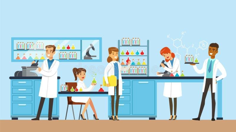 Os cientistas equipam e a pesquisa de condução em um laboratório, interior da mulher do laboratório de ciência, ilustração do vet ilustração do vetor