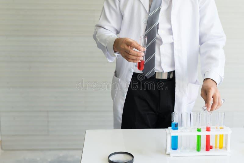 Os cientistas estão fazendo experiências no tubo de vidro do laboratório fotografia de stock