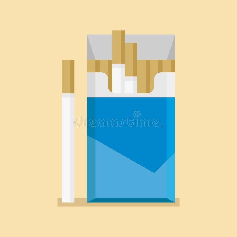 Os cigarros abertos embalam a placa de caixa no estilo liso ilustração stock