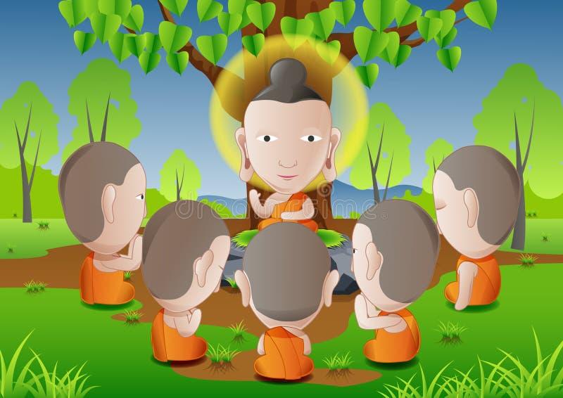 Os cinco ascetics transformaram-se seguidores da Buda bom para usar-se no dia importante do budismo ilustração do vetor