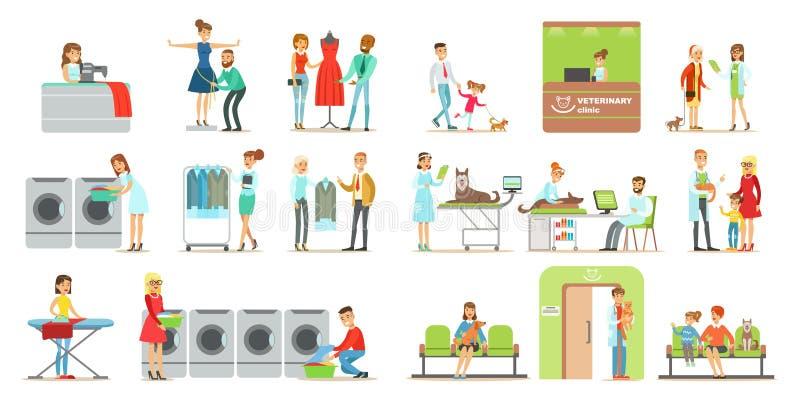 Os clientes que visitam a clínica e a lavanderia veterinárias compram, os povos que trazem seus animais de estimação o tratamento ilustração stock