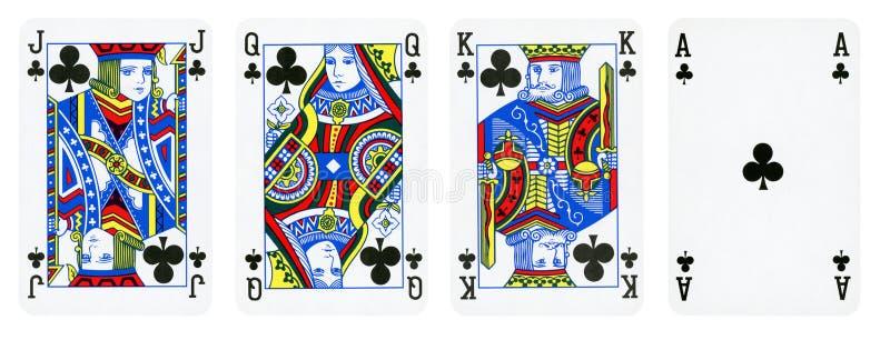 Os clubes serem cartões de jogo, grupo incluem o rei, a rainha, o Jack e o Ace ilustração royalty free
