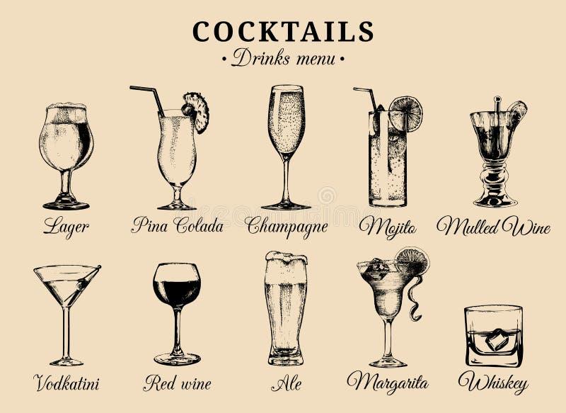 Os cocktail e os vidros das bebidas alcoólicas entregam ilustrações tiradas O vetor bebe os esboços ajustados, o champanhe, o uís ilustração stock