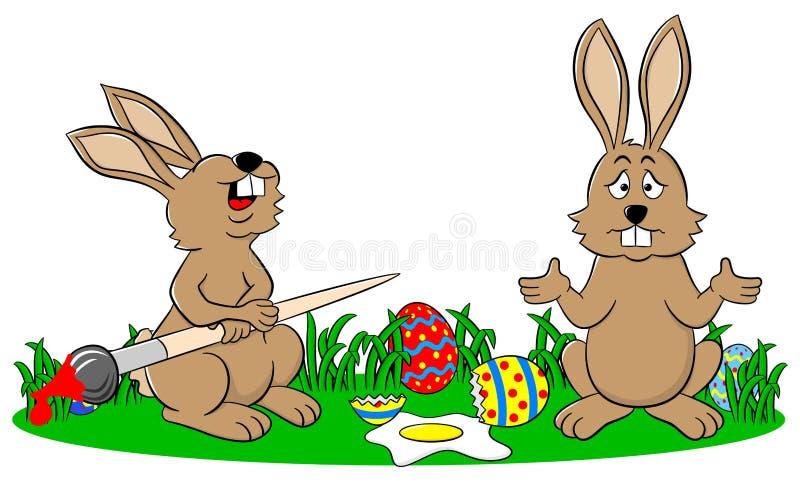 Os coelhinhos da Páscoa e um ovo caíram para baixo ilustração stock