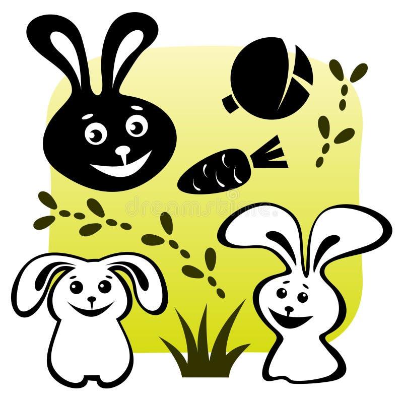 Os coelhos ajustaram-se ilustração stock