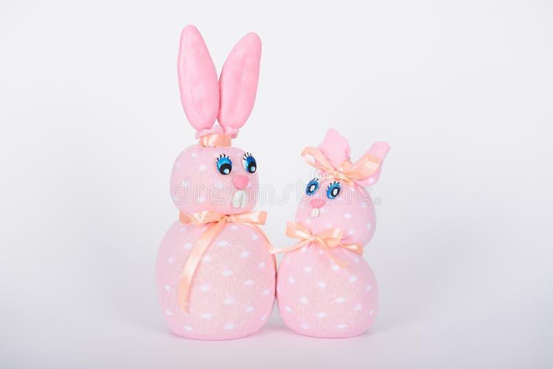 Os coelhos feitos à mão cor-de-rosa foto de stock royalty free