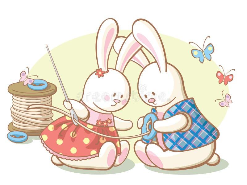 Os coelhos sew uma tecla no revestimento ilustração stock