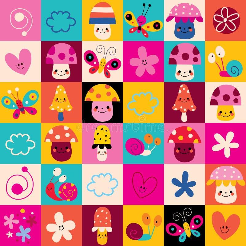 Os cogumelos, flores, borboletas, corações, natureza dos caracóis caçoam o teste padrão ilustração stock