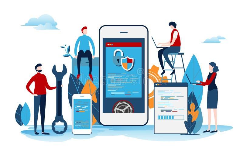 Os colaboradores criam o projeto startup Processo de desenvolvimento de aplicações móvel Interface de utilizador Vetor liso dos d ilustração stock