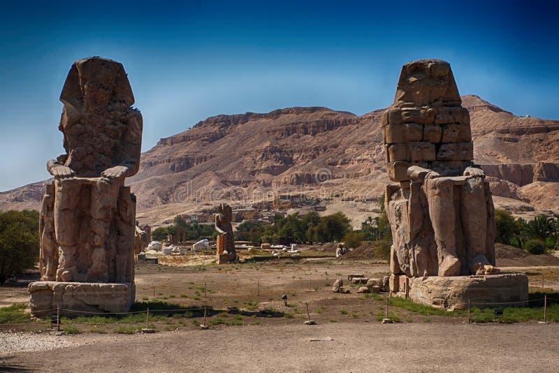 Os Colossi de Memnon fotos de stock royalty free
