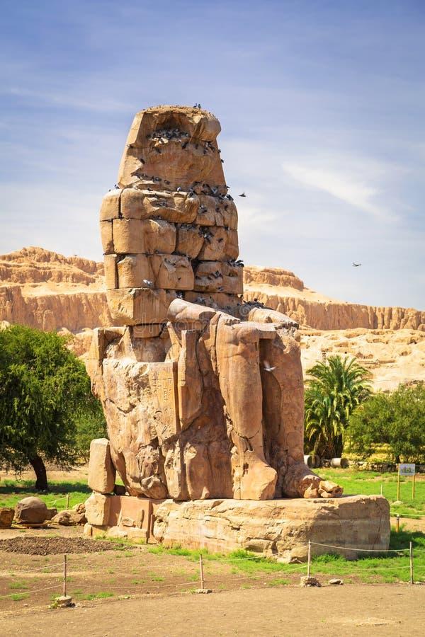 Os Colossi de Memnon em Egipto fotografia de stock royalty free
