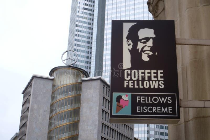 Os companheiros do café compram logotipo em Francoforte fotografia de stock royalty free