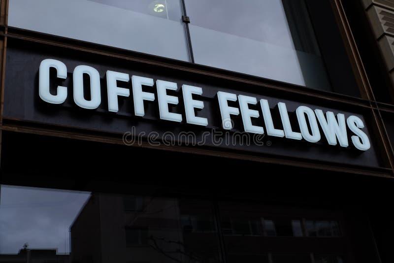 Os companheiros do caf? compram logotipo em Francoforte fotos de stock royalty free