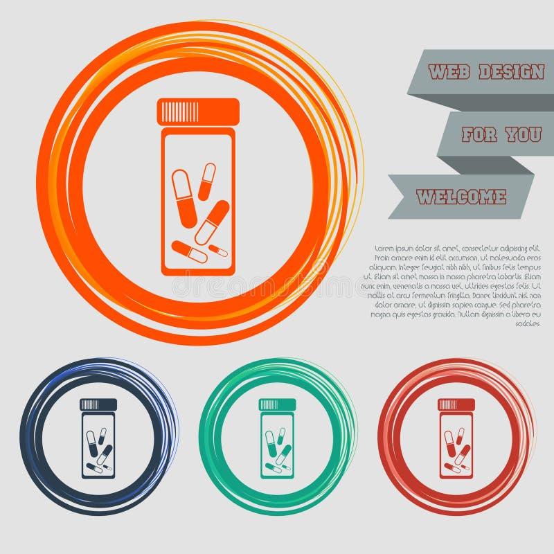 Os comprimidos, ícone da medicamentação nos botões vermelhos, azuis, verdes, alaranjados para seu Web site e no projeto com espaç ilustração royalty free
