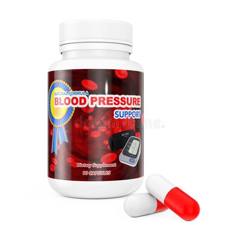 Os comprimidos do apoio da pressão sanguínea aproximam a garrafa de comprimidos plástica rende 3D ilustração do vetor