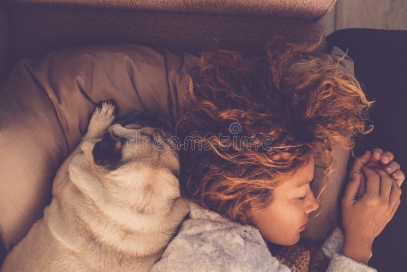 Os conceitos da amizade para a mulher 40s que dorme com seu pug dos melhores amigos perseguem em casa Ambos no descanso e nos ton imagens de stock