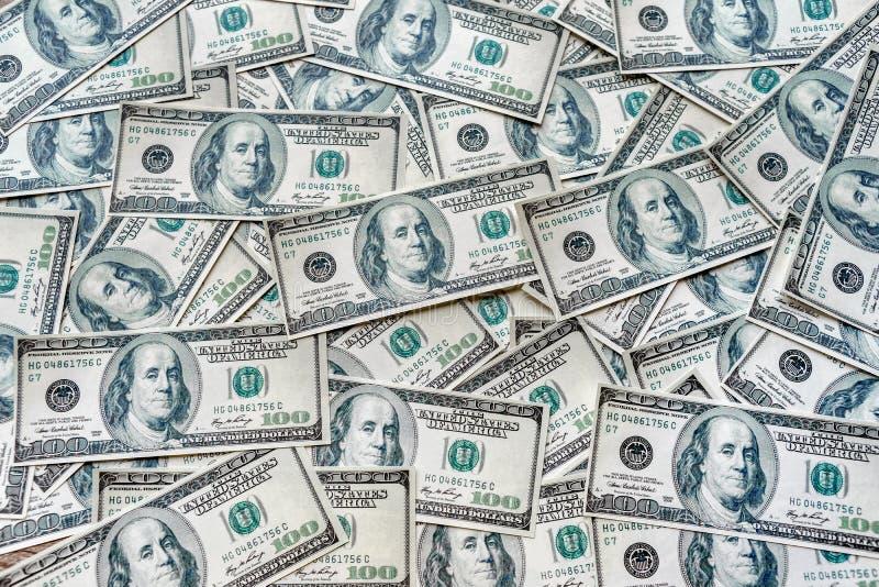 Os conceitos da vista superior da moeda das cédulas do dólar no Estados Unidos da América mostram o sucesso do investimento no imagem de stock royalty free