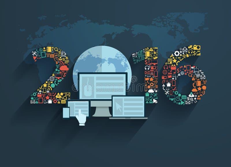 Os conceitos de projeto lisos do vetor ajustaram ícones da aplicação ilustração stock