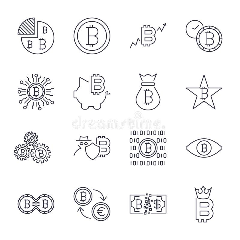 Os ?cones de Bitcoin ajustaram-se para o s?mbolo de moeda cripto do dinheiro do Internet e a imagem da moeda para usar-se na Web  ilustração do vetor