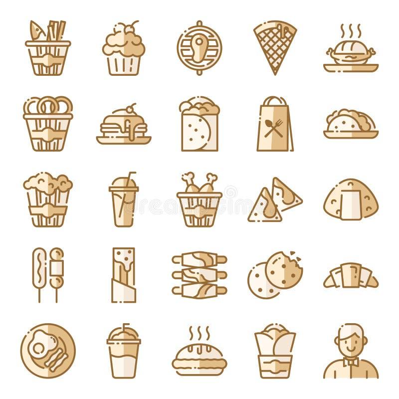 Os ?cones do fast food embalam ilustração stock