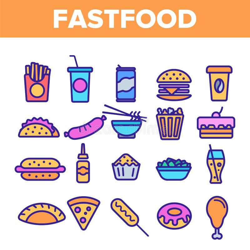 Os ?cones lineares do vetor do Fastfood ajustaram o pictograma fino ilustração royalty free