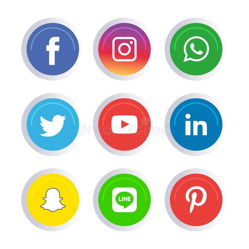 Os ?cones sociais dos meios ajustaram Logo Vetora Illustrator imagens de stock royalty free