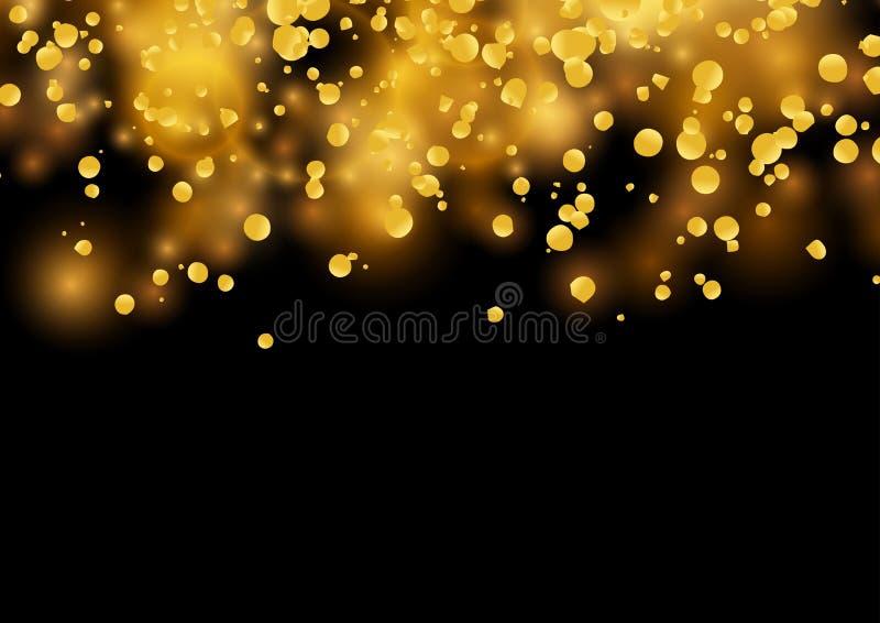 Os confetes dourados brilhantes do partido chovem a queda - fundo abstrato ilustração royalty free