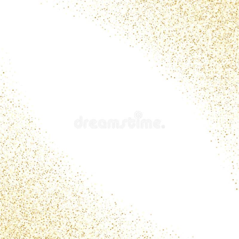 Os confetes metálicos da poeira do brilho dos sparkles do ouro vector o fundo da beira do quadro ilustração royalty free