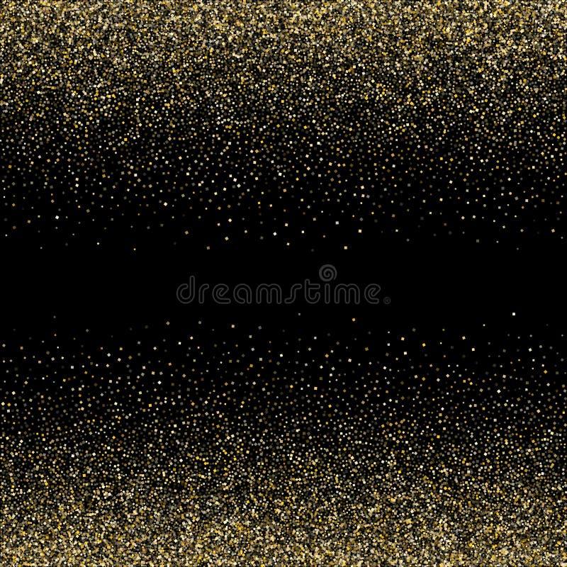 Os confetes metálicos da poeira do brilho dos sparkles do ouro vector o fundo da beira do quadro ilustração do vetor