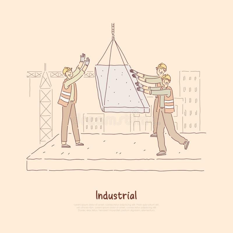 Os construtores no canteiro de obras, trabalhadores na multi casa de construção uniforme do andar, contramestre dão sentidos para ilustração do vetor