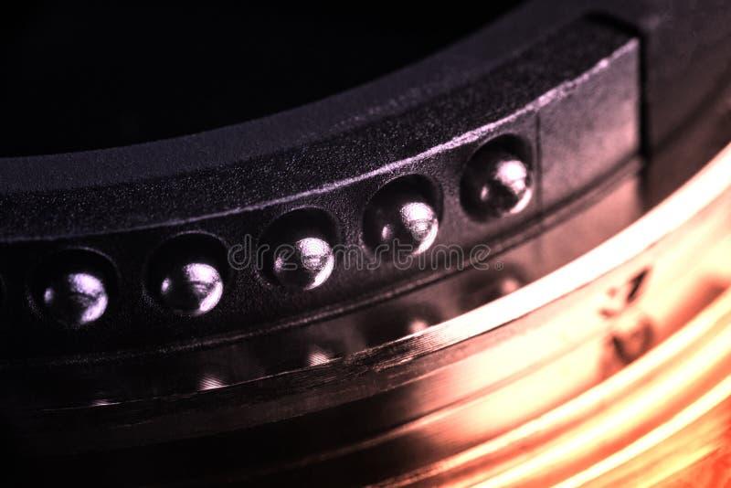 Os contatos da montagem da lente foto de stock