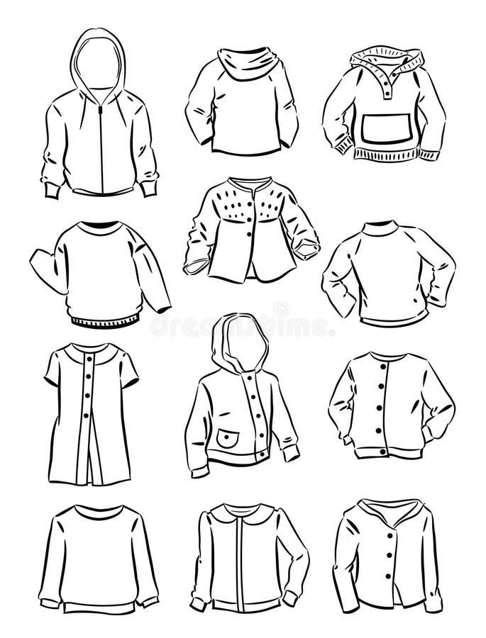 Os contornos das camisetas para as meninas ilustração royalty free