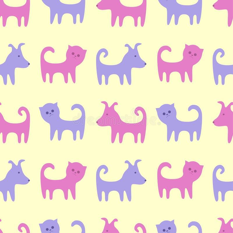 Os contornos de gatos e de cães engraçados Teste padr?o sem emenda do vetor ilustração royalty free