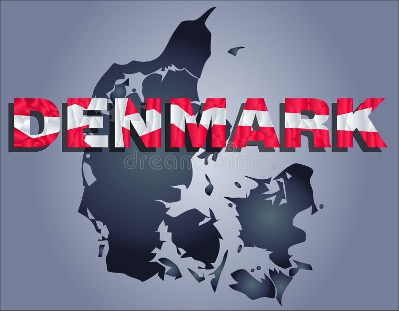 Os contornos do território da palavra de Dinamarca e de Dinamarca nas cores da bandeira nacional ilustração royalty free