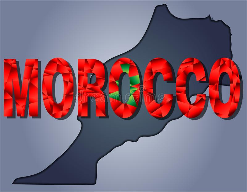 Os contornos do território da palavra de Marrocos e de Marrocos nas cores da bandeira nacional ilustração royalty free